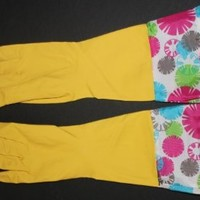 Glamour Rubber Gloves Colorful Dots (Yellow, Blue or Pink) (L, Yellow)