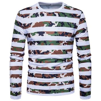 Casual Striped Camouflage Print O Neck Pullover Long Sleeved T-shirt