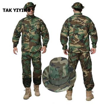 ONETOW TAK YIYING Outdoor Cargo Pants Uniform Waterproof Camouflage BDU Uniform US Clothing Set+Boonie Hats