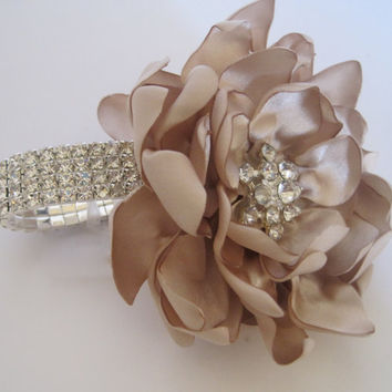 Champagne Satin Rhinestone Wrist Corsage Bracelet Bride Bridesmaid Mother of the Bride Prom with Rhinestone Accent..... Ready To Ship
