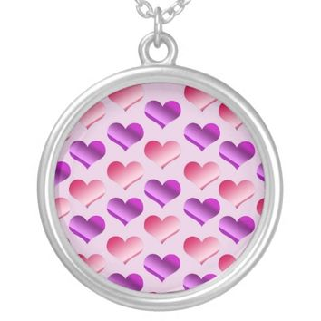 Bunches of Hearts Round Pendant Necklace