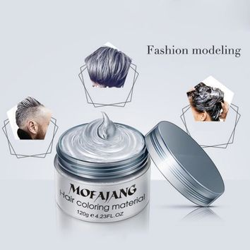 Color Hair Wax Styling Pomade Silver Grandma Grey Temporary Hair Dye Disposable Fashion Molding Coloring Mud Cream +comb
