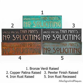 """Thin Mints No Soliciting Sign 12"""" W x 4"""" H"""