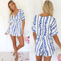 Printed V-Neck Romper