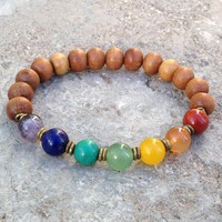 Sandalwood and Multi Color Gemstone Chakra Bracelet