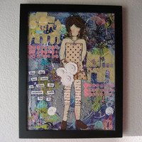 "Strong Woman Art, Original Painting, Mixed Media, Mixed Media Girl Art, Mixed Media Canvas, Girl Art, 8x10"" Painting, Framed Painting"