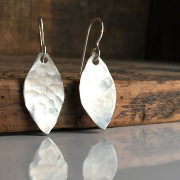 Hammered Earrings, Leaf Earrings, Silver Filled Earrings, Sterling Earwires, Hammered Leaves, Autumnal Earrings, Metalwork Earrings