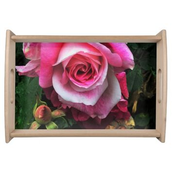 Pink Rose with Buds Serving Tray