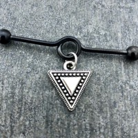 Tribal triangle Industrial barbell, body jewelry, 14 gauge 316L Surgical Stainless steel