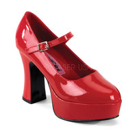 Funtasma Mary Jane Shiny Red Patent Ankle Strap Pumps