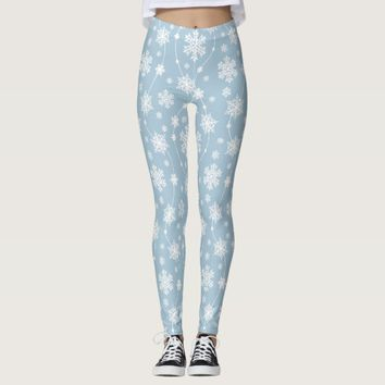 Pale Blue with Ornate White Snowflakes Leggings
