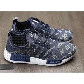 Adidas x Gucci x Louis Vuitton x Supreme NMD Trending Running Sports Shoes Sneakers Navy blue G