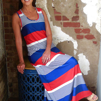 Charlie Paige Maxi Dress Red, White & Blue