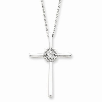 Sterling Silver Diamond Eternal Life Cross Necklace