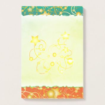 Golden Stars and Circles on A Gradient Background Post-it Notes