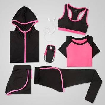 Women Compression Running Sets Sports Yoga Leggings Shirts Shorts Vest Bra Jackets Hood Tights Clothes Fitness Jogging Suit 5pcs