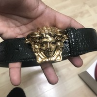 Versace Medusa Dark Green Crackle Belt Size 95