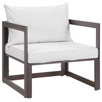 LexMod Fortuna Outdoor Patio Armchair in Brown White