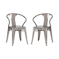 Bistro Arm Chair in Gunmetal - Set of 2