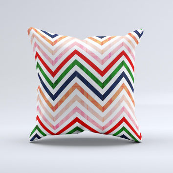 Vibrant Fall Colored Chevron Pattern Ink-Fuzed Decorative Throw Pillow