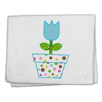 "Easter Tulip Design - Blue 11""x18"" Dish Fingertip Towel by TooLoud"