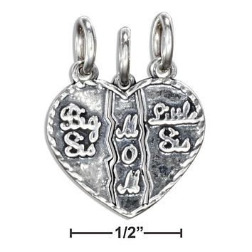 "STERLING SILVER ""BIG SIS, LITTLE SIS, MOM"" 3- PIECE BREAKAWAY HEART CHARM"