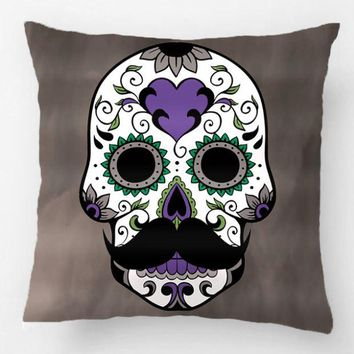 Mustache Day Of The Dead Sugar Skull Throw Pillow Case