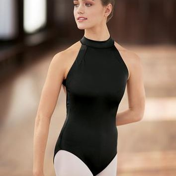 139fffe485 High-Neck Open Back Halter Leotard