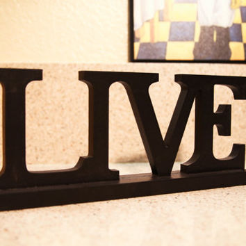 Wooden LIVE Sign - Black