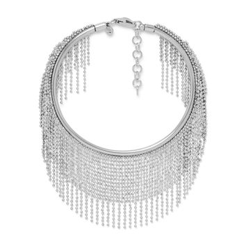 Sterling Silver  Flex Cuff Bracelet With Dangling Beaded Strands