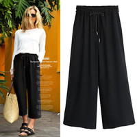 Wide Legs Casual Loose Plus Size 9/10 Pants