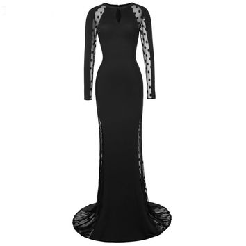 Polka Dots Long Sleeve Evening Dresses See Through Formal Party Dress Black Mermaid Evening Gowns