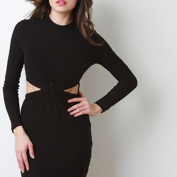 Twist Front Long Sleeve Midi Dress