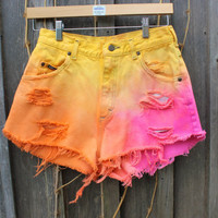 High Waisted Denim Shorts by lovesarahlivingston on Etsy