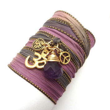 Silk Wrap Bracelet with Gold Om Charms and Amethyst by charmeddesign1012