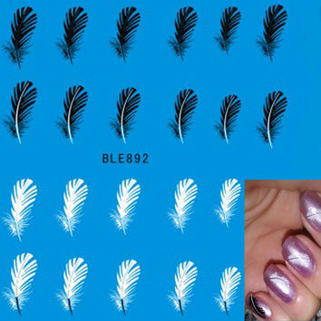 1 sheets NEW 2017 Water Decals Nail Art Sexy Black White Feathers Nail Stickers Decals Decorations Polish Gel DIY Beauty BLE892