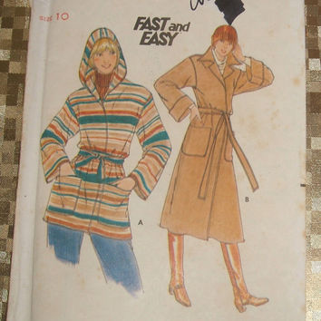 Sewing Pattern Vintage Butterick 5658 Uncut Misses Coat Front Wrap Hooded Jacket Hoodie Size 10 Instant Fashion Fast and Easy DIY Clothing