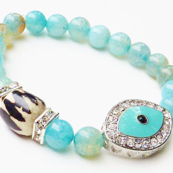 Beaded Bracelet with Aqua Blue and Brown Fire Agate Semiprecious Gemstones, Evil Eye and African Bone Bead