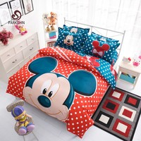 ParkShin Mickey Mouse Bedding Set Cartoon Kids Favorite Home Textiles Plain Printed Stylish Bedclothes Twin Queen Size 3pcs/4pcs