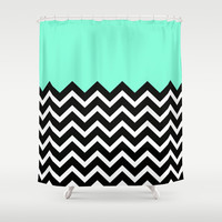 Tiffany Pastel Chevron Print Shower Curtain by RexLambo
