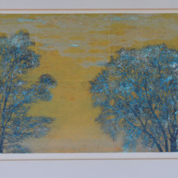 "Joichi Hoshi (Japanese 1913-1979) ""Two Trees"":Woodblock Print Titled in Japanese, 63/99, Dated 1974; Signed in Pencil with Artist's Red Seal"