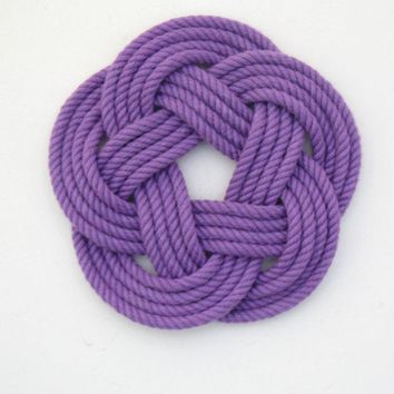 Sailor Knot Coasters, woven in Purple Cotton , Set of 4