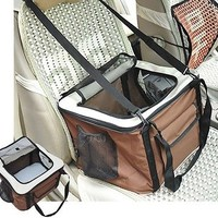 Folding Pet Carrier Car Travel Bag Crate Auto Seat Dog Seat W/Mat Storage Pocket