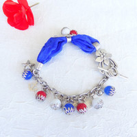4th of July bracelet, Red White Blue nautical charms bracelet, Silk Bracelet,  Stones bracelet, Flowers Bracelet