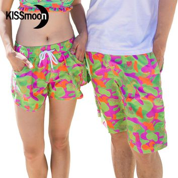 KISSyuer Quick-drying Camouflage disruptive pattern Couples set 2 pieces Lovers couple swimwear men women Board shorts KBS1203