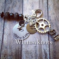 Jeep Girl keychain--great for anyone in love with jeeps. Also available with Dirt-bike, Motorcycle, ATV, or Airplane Design and Stamping.