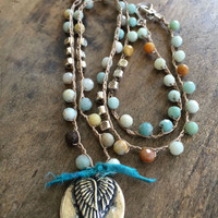 """Crochet Necklace Silver Wings, Angel Gemstone Knotted Jewelry """"Boho Chic"""" by Two Silver Sisters"""