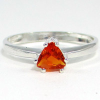Orange Fire Opal Trillion Ring Sterling Silver, October Birthstone Ring, Fire Opal Ring, Orange Fire Opal, 925 Ring, Sterling Silver Fire Opal Ring