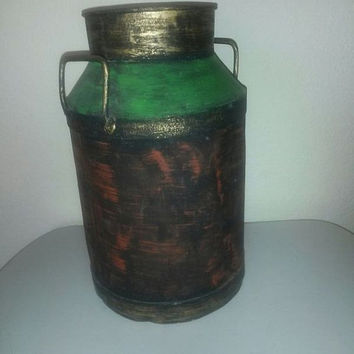 Milk Can 16 Inch Tall Shabby Country Rustic Primitive  Galvanized Jug Vase