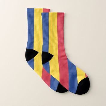 All Over Print Socks with Flag of Romania